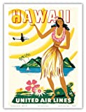 United Air Lines - Hawaii, Only Hours Away via Mainliner - Vintage World Travel Poster c.1950s - Hawaiian Master Art Print - 9in x 12in