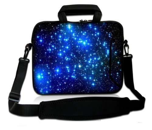 "Casebuy 17"" 17.3"" 17.4"" Inch Galaxy Neoprene Notebook Laptop Soft Bag Sleeve Case Cover Pouch With Adjustable Shoulder Strap For Apple Macbook Pro 17 /Hp Envy 17 Series/ Pavilion Dv7/Dv7T/G72/G72T/G7T/M7 Series / Dell Inspiron 17 17R I17Rm I17Rv Xps 17 Se front-636086"