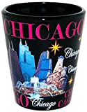 Chicago Illinois Black & Pink Landmarks Shot Glass