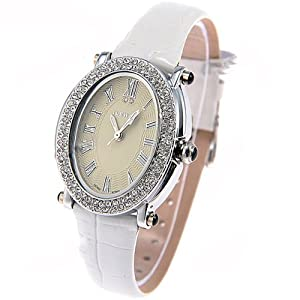 (ILEWAY) ABL-8801 Elegant Genuine Leather Quartz Analog Watches Wrist Watches Timepieces with Rhinestones f Female - White SWWM1-224812