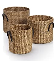 3 Piece Water Hyacinth Round Basket Set