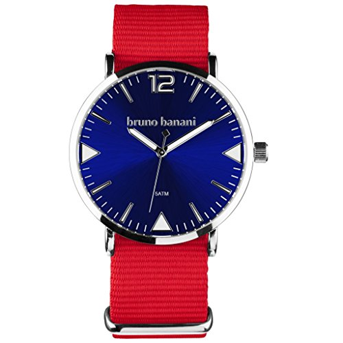 Bruno Banani BR30064Cool Color Watch Unisex Analogue Air Band Metal 50m Red/Blue