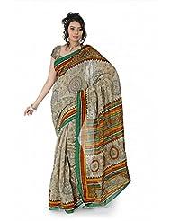 Designersareez Women Bhagalpuri Silk Printed Cream Saree With Unstitched Blouse(1392)