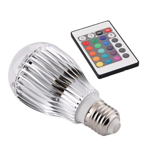 TOOGOO(R) E27 9W RGB Bunte LED Birne Farbwechsel Lampe Licht 230V mit Fernbedienung