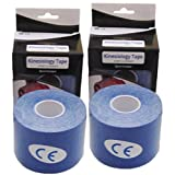 ExL Tape Kinesiology Tape (Twin Pack) • Rehabilitation Tape for Muscle Pain and Sports Injuries • Latex-Free (2 ½ in. wide by 16 1/3 ft long) (Blue)