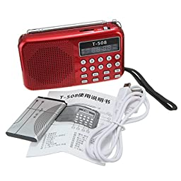 CAMTOA Pro T508 Mini LED Stereo FM Radio Speaker USB TF Micro SD Card MP3 Music Player Red