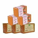 Khadi Mauri Haldi-Chandan & Papaya Triple Pack Soaps - Combo Pack of 6 - Premium Handcrafted Herbal