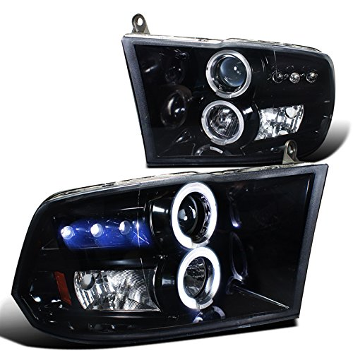Spec-D Tuning 2LHP-RAM09G-TM Glossy Black Dodge Ram 1500 2500 3500 Halo Projector LED Headlights (Dodge Ram 1500 Smoked Headlights compare prices)