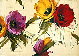 54W x 39H Still Life with Tulips by Antonio Massa - Stretched Canvas w/ BRUSHSTROKES