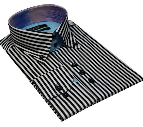 Italian Design High Collar Button Down Men Formal Casual Shirts Black Stripe