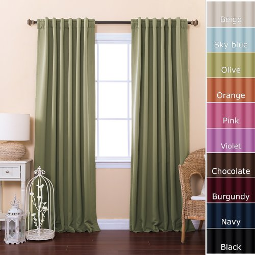"Solid Thermal Insulated Blackout Curtain 52 X 84""L- 1 Set-Dk. Olive"