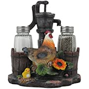 Farm Chicken and Old Fashioned Water Pump Glass Salt and Pepper Shaker Set