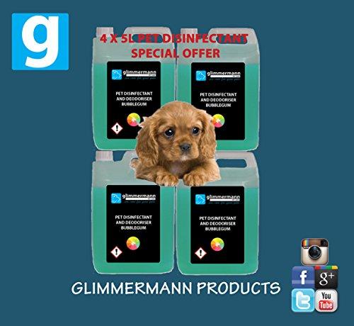 Hundezwinger-Reinigungsmittel-desinfiziert-deodorisiert-Kaugummi-Duft-4-Flaschen-mit-jeweils-5-l