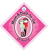 Mum Dad to be On Board Car Sign Mum and dad to be pink Baby on Board Novelty Car Sign baby on Board Baby Car Sign New Mum and Dad Sign Bumper Sticker Style Sign New Baby Sign Maternity Car Sign