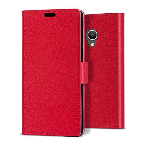 bdeals Luxury Portafoglio in Bookstyle Protettiva Custodia in pelle per Alcatel One Touch Pop 4 Plus Flip Cover Caso , rosso