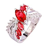 Psiroy Women's 925 Sterling Silver 1.5ct Pink Tourmaline Filled Ring