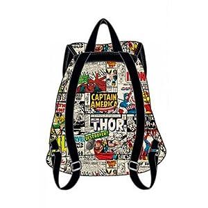 Official Marvel Comic Print Design Cotton Rucksack Backpack Bag