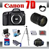Canon EOS 7D Digital SLR Camera Body with Canon 18-135mm Lens for Canon Digital SLR Cameras + 32GB Memory Card + SD Memory Card Reader + Li-Ion Replacement Battery Pack + Deluxe Cleaning Kit + Carrying Case + Tripod + LCD Protectors + Cleaning Cloth Deluxe Kit + 3 Piece Lens Filter Kit