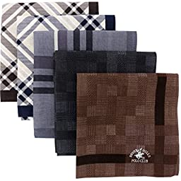 Leevo Handkerchief Men Assorted Woven Cotton 100% Hankies Fashion 5pack Box Set Assorted (17.5inch 5 color assorted 5pack box(B))