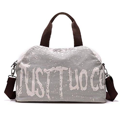 Tote da Viaggio - Feelme Borsa a Tracolla con Stampa Grande di Tela e Pelle per Sport Weekend Bag Uomo Donna Vintage