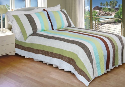 [The Tahiti] 100% Cotton 2PC Vermicelli-Quilted Striped Patchwork Quilt Set (Twin Size)