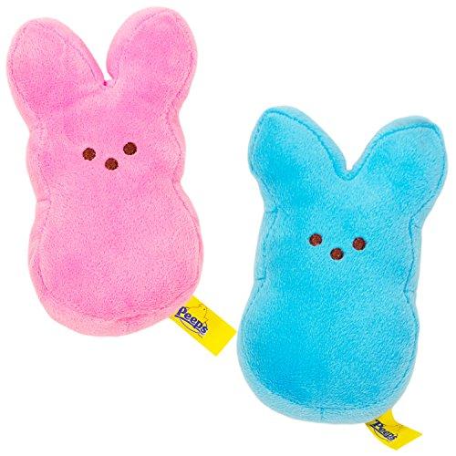 Peeps Plush Bunny Set -- 2 Bunnies (Blue Bunny, Pink Bunny)