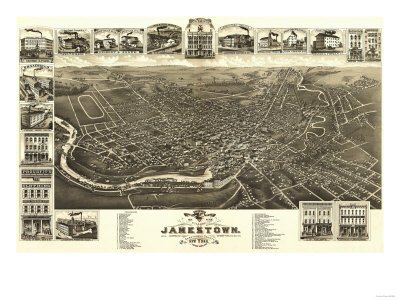 Jamestown, New York - Panoramic Map