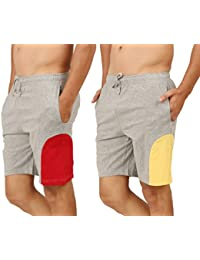 Clifton Men's Shorts MB04 Pack Of 2-Grey Melange-Red-Grey Melange-Yellow