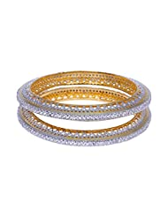 Gehna Alluring Handmade Pair Of Bangle Made In Metal Studded With AAA Quality A.D - B00R7TH1IG