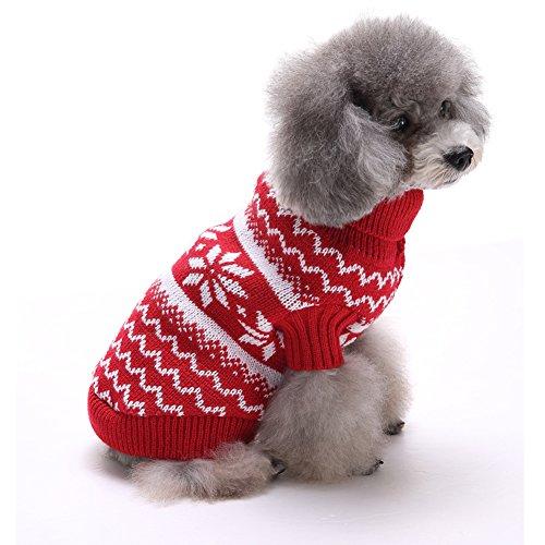 Cane Vestiti Invernale Costume Gatto Vestiti Invernali Maglione Caldo Maglieria per I Cani Cucciolo Abbigliamento Cappotto (S, Rosso)