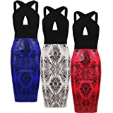 Oromiss Ladies Womens Aztec Print Bodycon Midi Dress Sexy X Cross Cut Out Top Textured Pencil Skirt