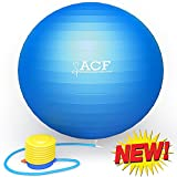 ACF Exercise Ball w/ Pump - Anti Burst & Slip Resistant Stability Fitness Ball