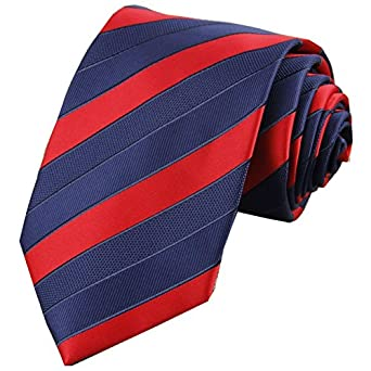 D.Berite Men'S Striped Tie Wedding Silk Neckties Length 58 Inch Color Navy Blue Red