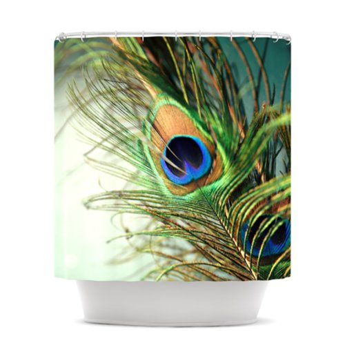 KESS InHouse Sylvia Cook Teal Peacock Feather Shower Curtain, 69 by 70-Inch