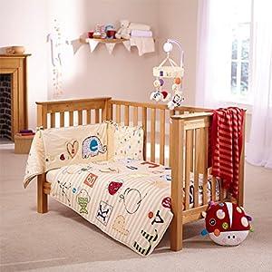 Clair De Lune ABC 2 Piece Cot Bed Quilt Bumper Bedding Set Neutral Am