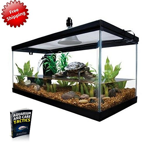 Reptile Habitat Setup Aquarium Tank Kit Filter Screen Lid Bask Lamp Turtle Frog & eBook by Easy2Find (Water Turtle Habitat compare prices)