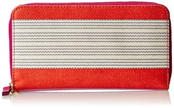 Fossil Keyper Zip Wallet,Pink Stripe,One Size