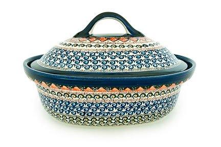 Polish Pottery Blue Horizon Roaster With Lid