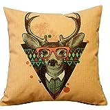 Cute Cartoon Animal Dee r Handmade Cotton Linen Sofa Decor Throw Pillow Covers Pillowcase Sham Decor Cushion Cover Slipcovers Square 18 Inch 18