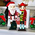 Hallmark Santa & Elf Nutcrackers Decorative Holiday Display Christmas Doll Wood