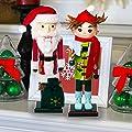Hallmark Santa & Elf Nutcrackers Decorative Holiday Display Christmas Doll Wood