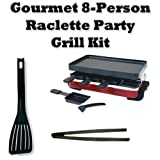 Swissmar KF77043 Electric Indoor 8-person Red Classic Raclette Party Grill --Plus-- Accessory Bundle