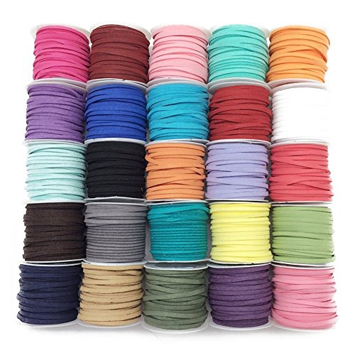 pepperlonely-brand-25-rolls-faux-leather-suede-beading-cords-3x15mm1-8x1-16-inch