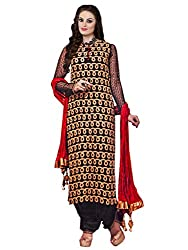 Inddus Women Black & Red Partywear Unstitched Dress Material