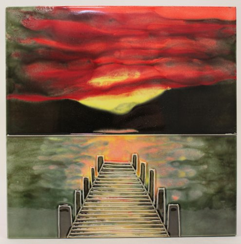 Beautiful Sunset Scene a Benaya ceramic art tile coasters as if they are alive with detail bold colours a perfect decorative wall tile gift purchase