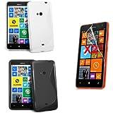 Etui Silicone Gel Housse coque x 2 + Films de protection d'écran x 2 pour Nokia Lumia 625 win 8