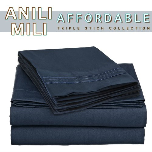 Check Out This Anili Mili's Triple Stitch Embroidery Affordable 4 PC Bed Sheet Set - Queen Size, Nav...