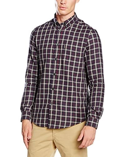 Ben Sherman Camicia Uomo Ls Reversible Check/ Plain Inn  [Blu]