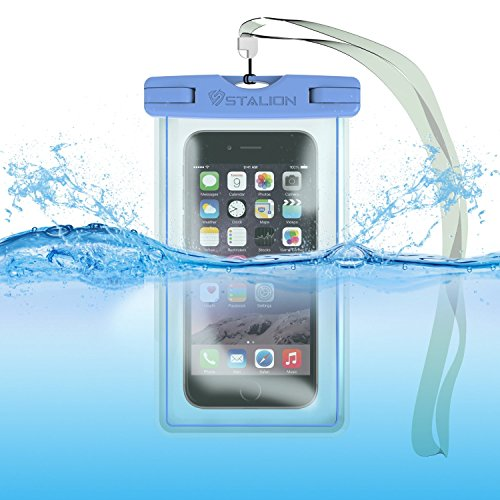 Waterproof Case Bag : Stalion® Sports Universal Water Safe Pouch [Lifetime Warranty](Cyan Blue) 100 Feet IPX8 Certified with Touch Responsive Screen + Camera Hole + Neck Strap - Fits All iPhone 6 6s, 6 Plus 6s Plus, Galaxy S6+, Note 5 4, iPod Touch, HTC One and all other smartphones