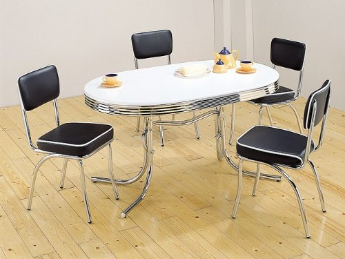 50's RETRO TABLE SET CHROME OVAL TABLE WITH 4 CHAIRS